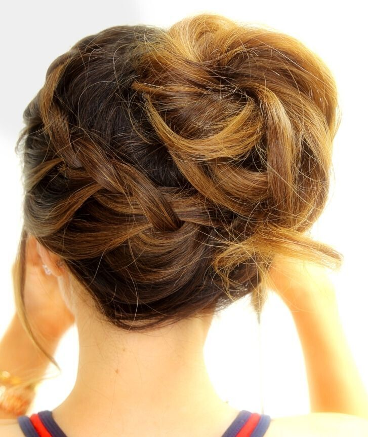 Braided updo for medium hair