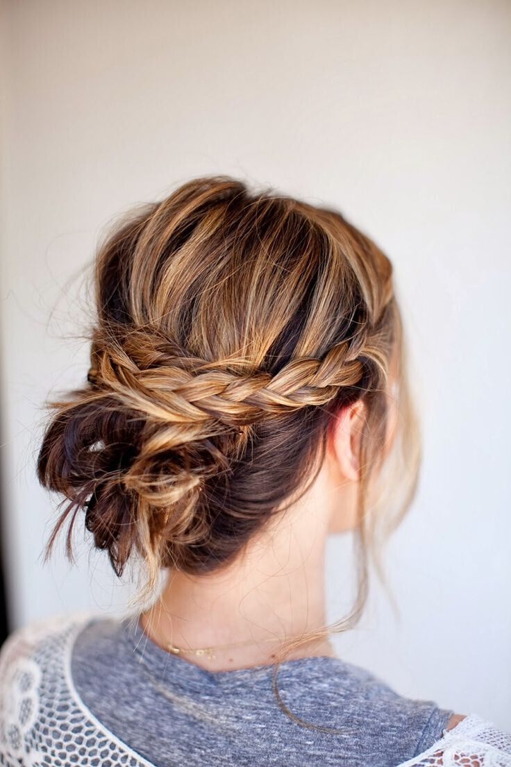 Simple braided updo for medium hair
