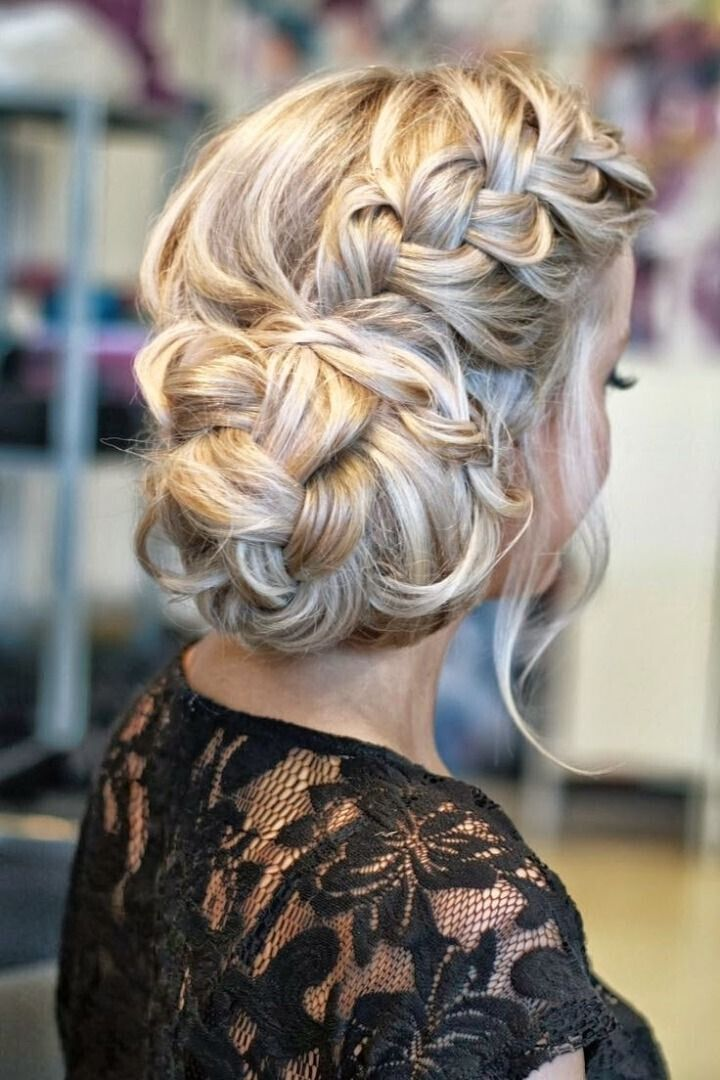 Side braided bun hairstyle for the wedding