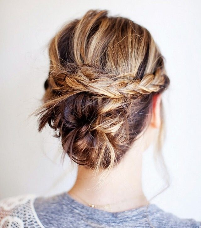 Braided updo idea for shoulder length hair