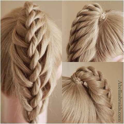 Twisted ladder braid ponytail hairstyle