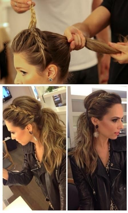 Stylish ponytail hairstyle with side braiding