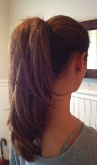 Layered ponytail for long hair