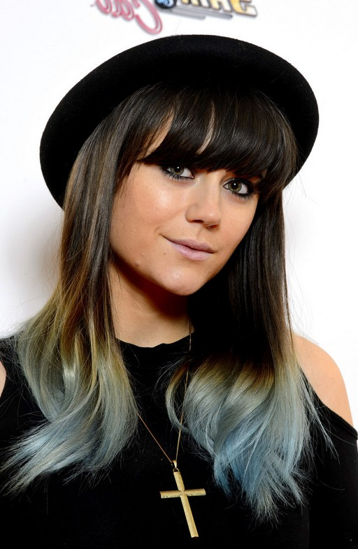 Ombre hairstyle with blunt bangs