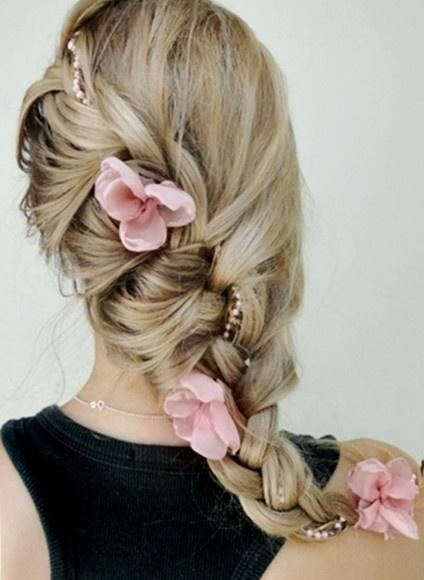 Side braided hairstyle for the wedding