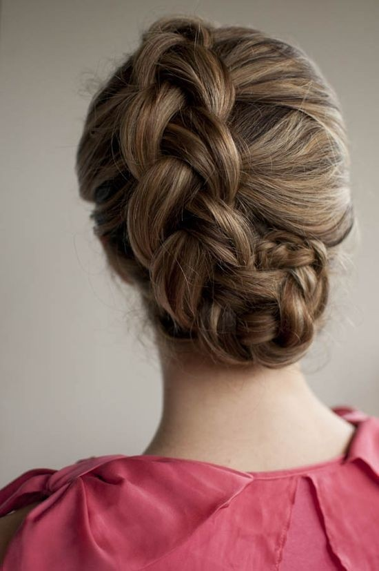 Dutch braided updo for long hair
