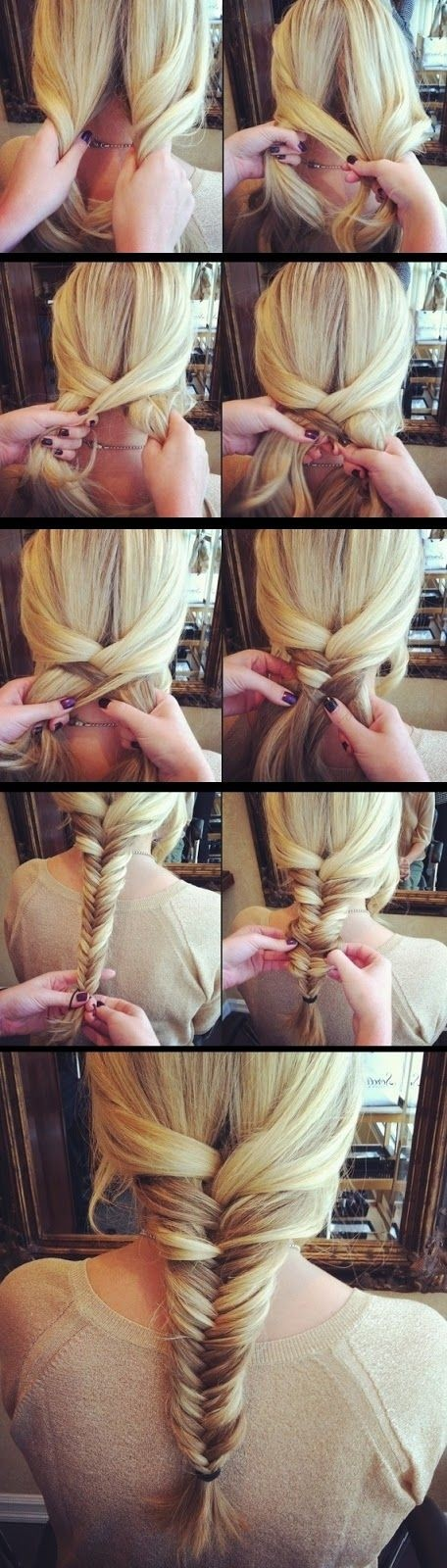Fishtail braided ponytail for long hair