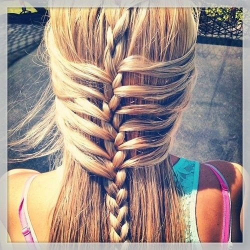 Braided waterfall hairstyle for long straight hair