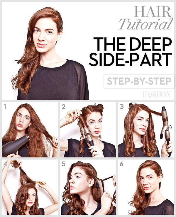 Deep side parting