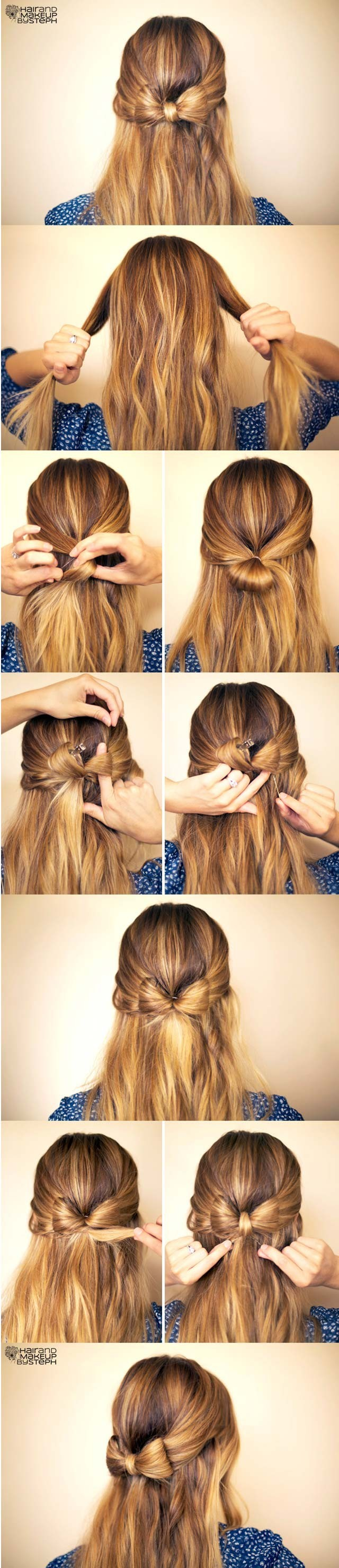 Cute hair bow hairstyle tutorial