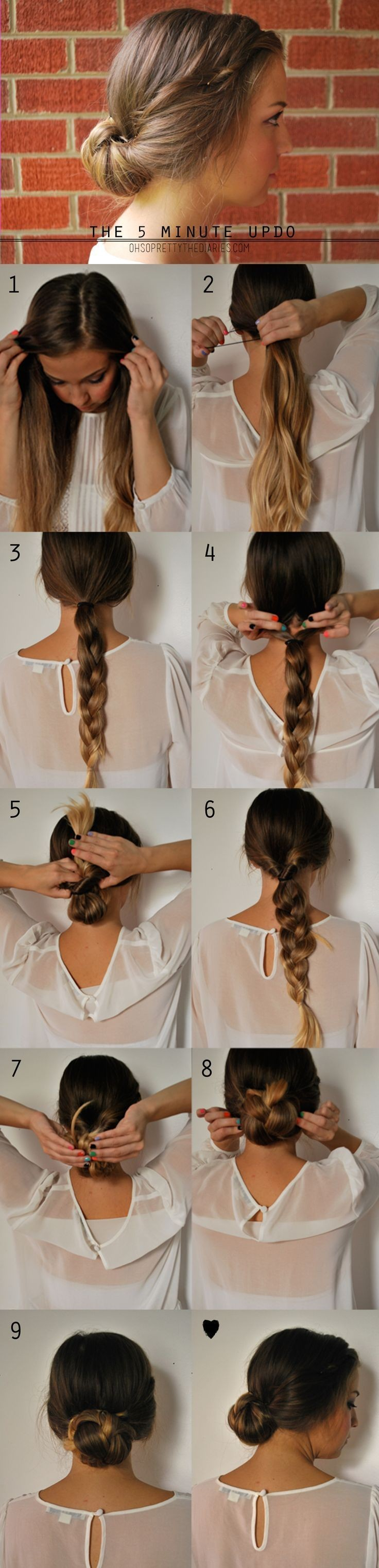 5 minutes updo for long hair