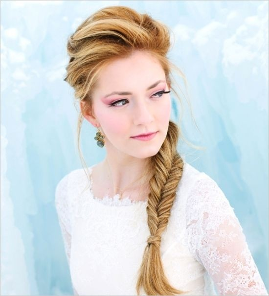 Side fishtail braid for bridesmaids hairstyles