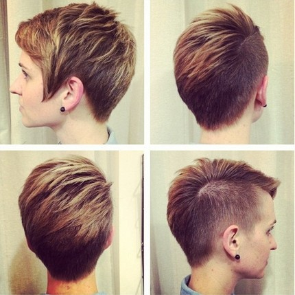 Short haircut with side bangs