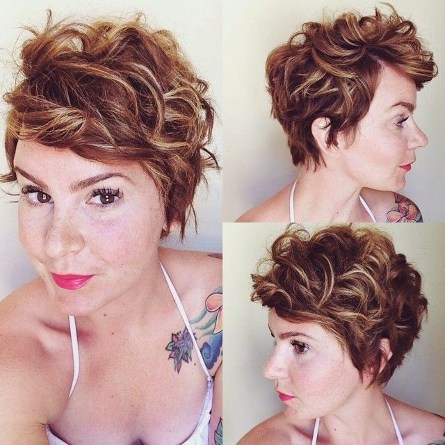 Short curly pixie hairstyle for thick hair