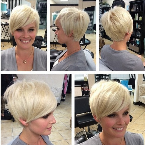 Simple short blonde haircut with bangs