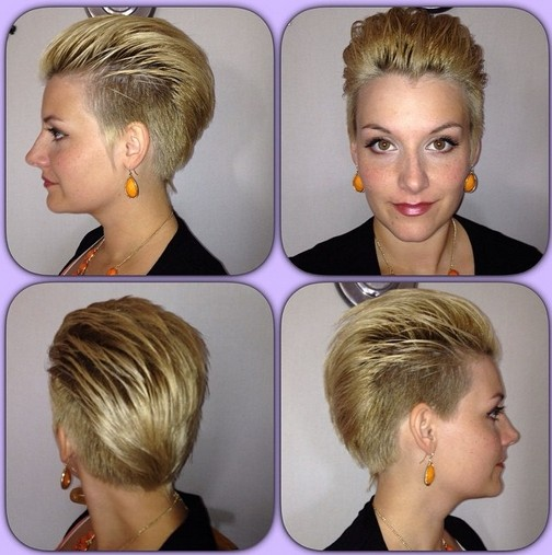 Short shaved hairstyle for blonde hair