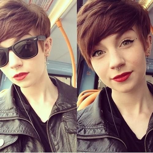 Short pixie haircut with side bangs
