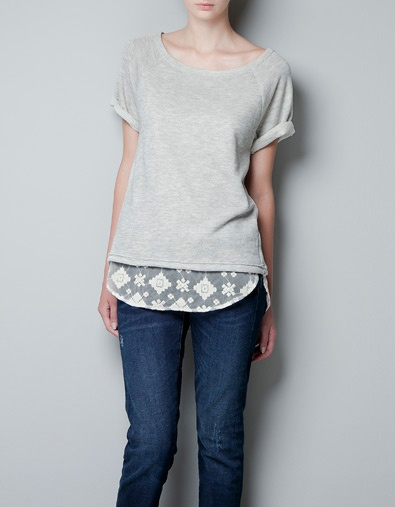 Lace-lined shirt