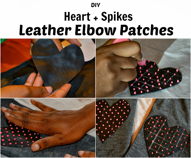 Elbow patches with pink dots