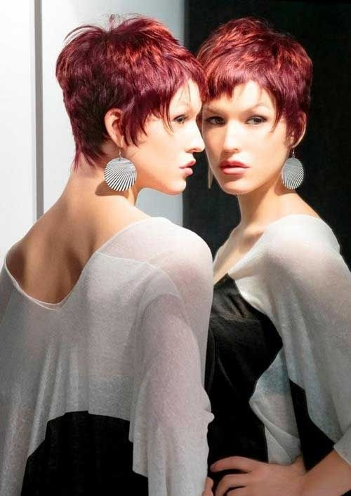 Short razor cut for red hair