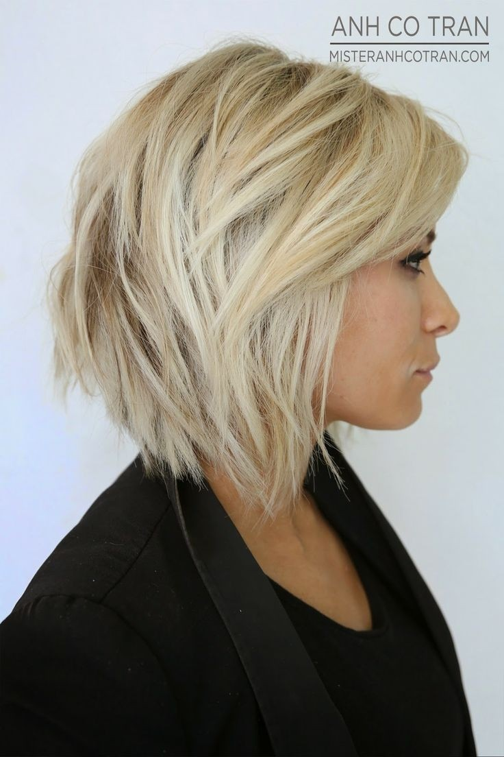 Choppy bob haircut with long layers