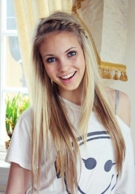 Long straight hair with braided bangs