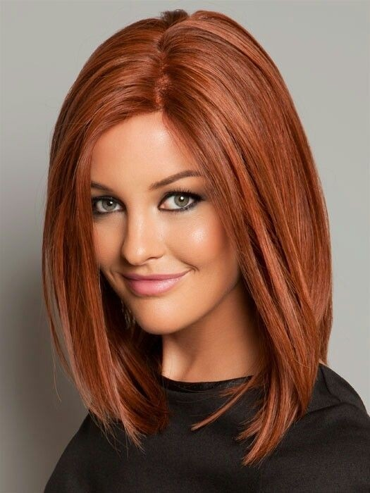 Straight long bob hairstyle in red color