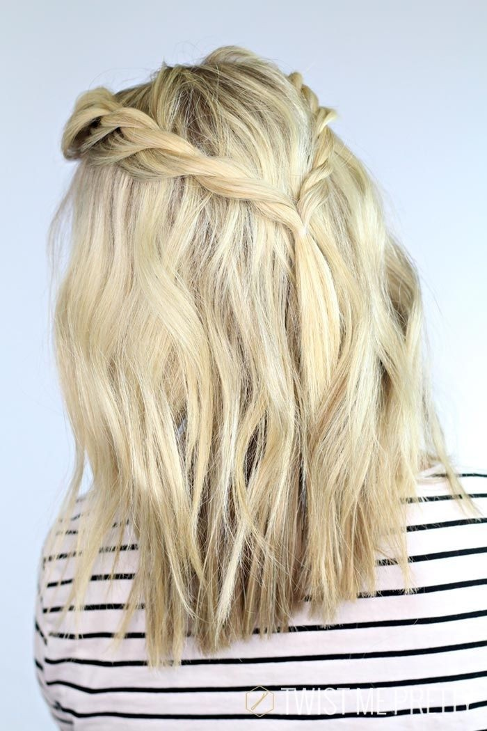 Medium hairstyle with double braids