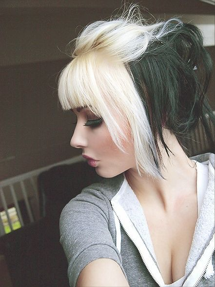 Two-tone messy updo