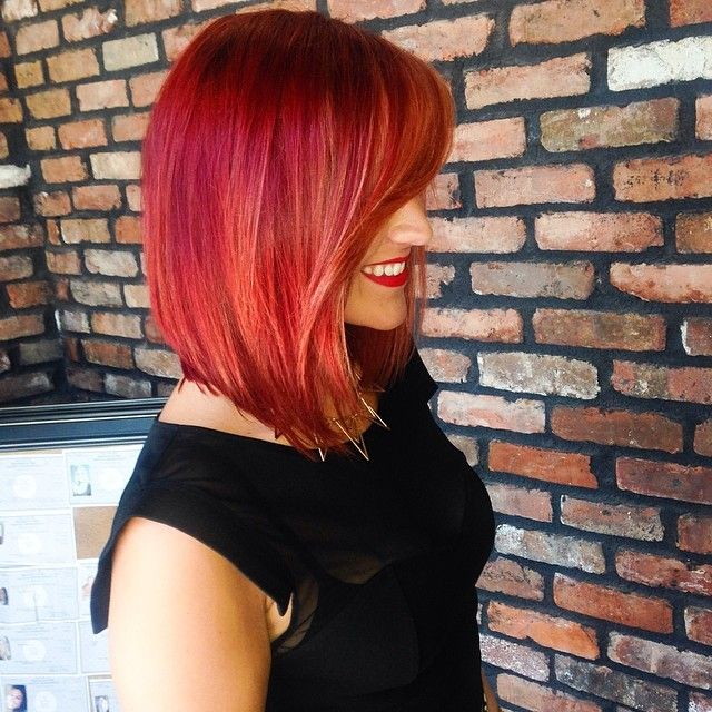 Red and blonde bob