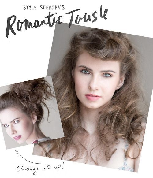 Romantic tousled garden party hair