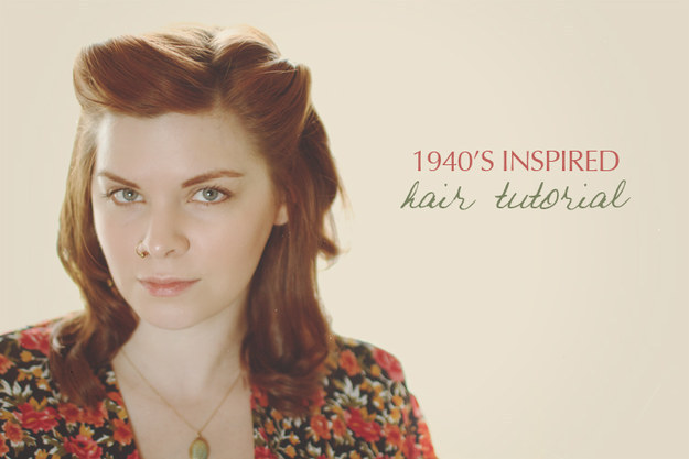 A simple 1940s pinback hairstyle