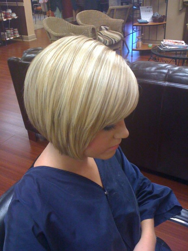 Blonde stacked bob hairstyle with bangs