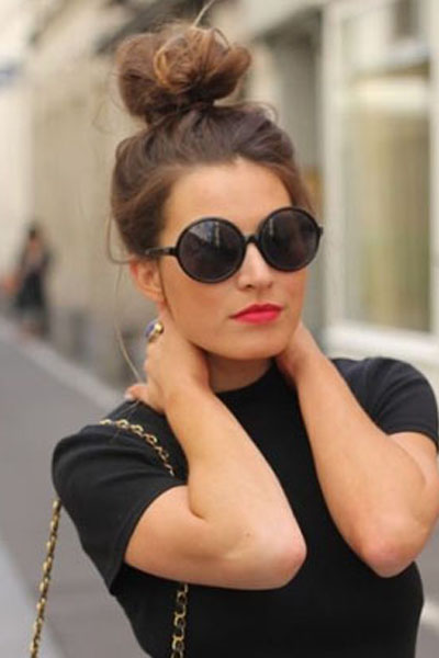 Topknot with sunglasses