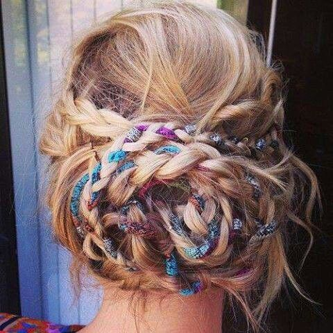 Braided bun with ribbons