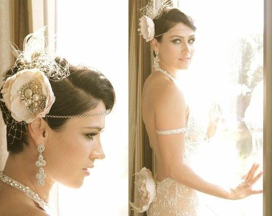 Wedding short hairstyle with accessories
