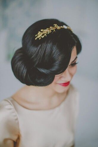 Retro updo with hair accessories