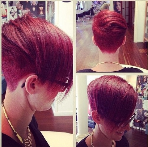 Red pixie haircut for long faces