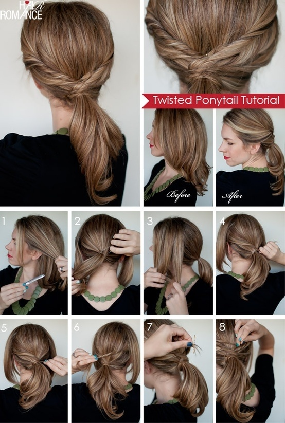 """Twisted ponytail for medium length hair """"width ="""" 458 """"class ="""" size-full wp-image-43094"""