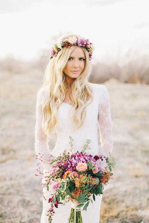 Boho hairstyle with flower crown for the wedding