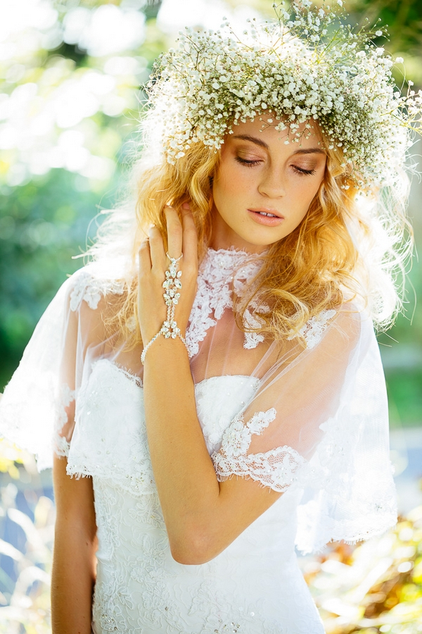Romantic bridal hairstyle with flower crown
