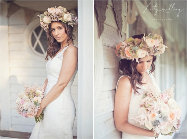 Stunning wedding hairstyle with a floral crown
