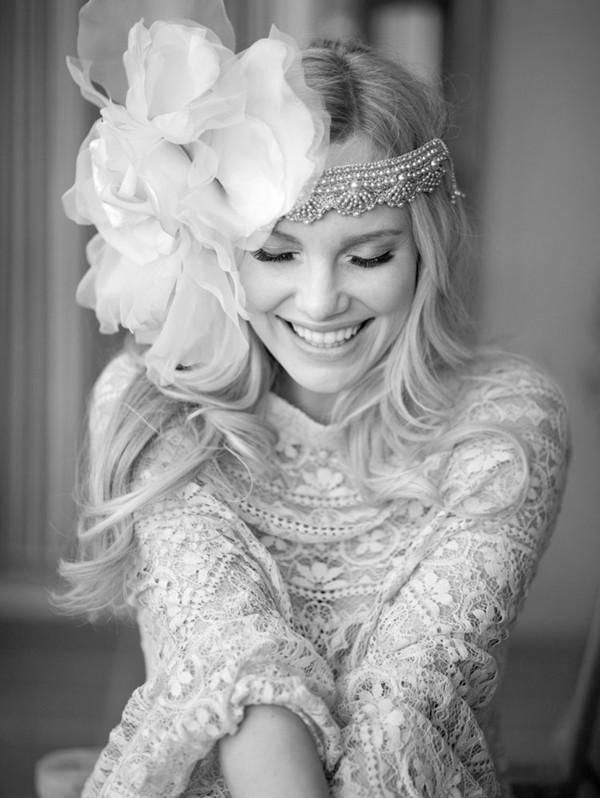 Vintage floral crown hairstyle for wedding