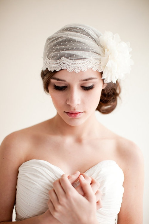 Updo hairstyle with veil