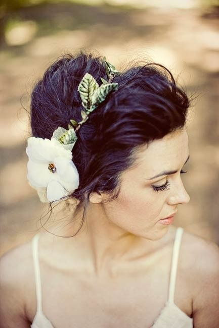 Updo hairstyle with flower