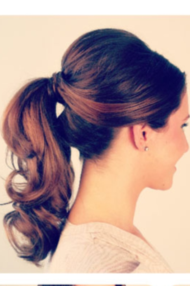 Brunette curly ponytail