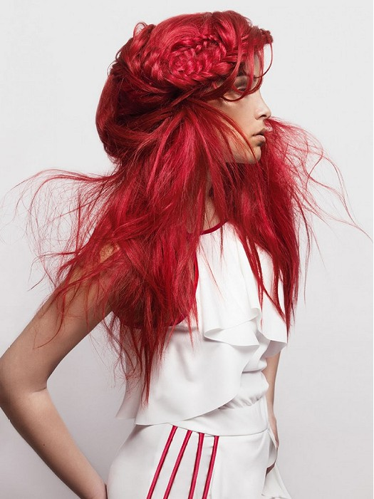 Nervous red hairstyle