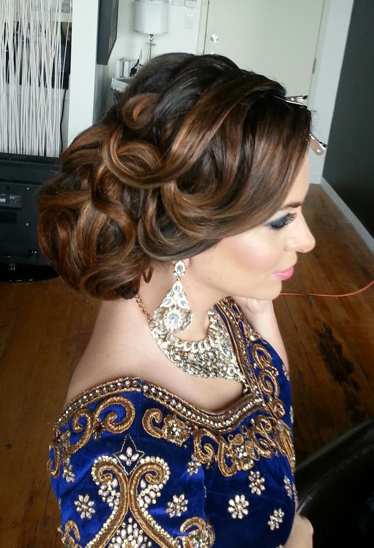 Textured Indian wedding updo hairstyle