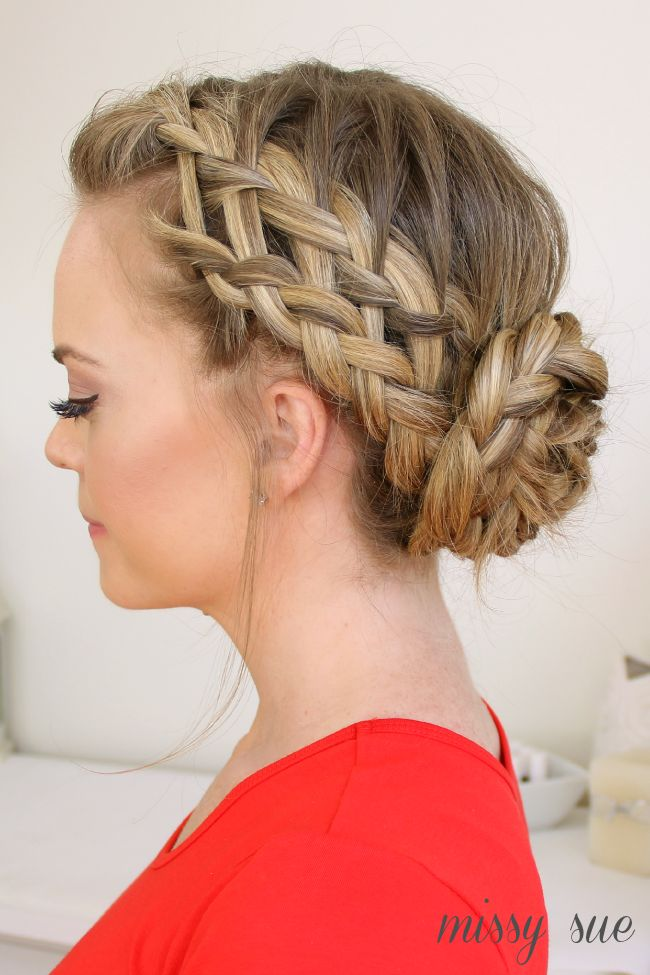 Delicate waterfall braided bun
