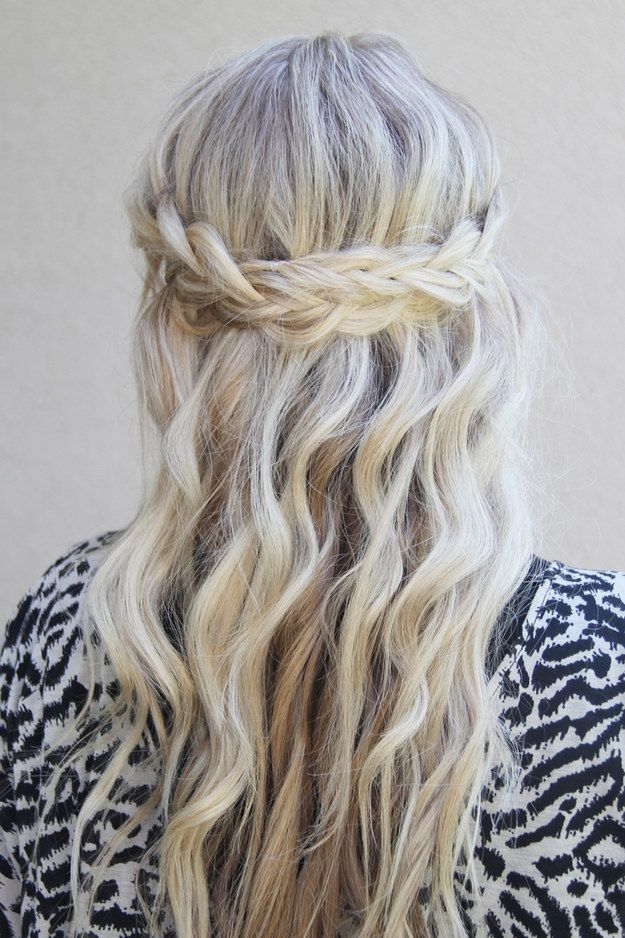 Waterfall braid for long blonde hair